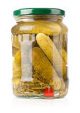 Pickles in a glass jar Stock Photos