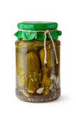Pickles in glass jar Stock Photo