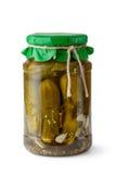 Pickles in glass jar stock photo
