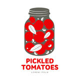 Pickles glass jar flat illustration. Pickled tomatoes glass jar logo for your design. Home canning, tomatoes, marinade, black peppercorn, bay leaf, brine Royalty Free Stock Images