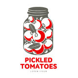 Pickles glass jar flat illustration. Pickled tomatoes glass jar logo for your design. Home canning, tomatoes, marinade, black peppercorn, bay leaf, brine Royalty Free Stock Photos