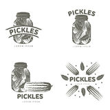 Pickles logo templates. Pickles logo set for your design. Home canning, glass jar, pickle, cucumber, marinade, black peppercorn, bay leaf, brine. Pickles badges Royalty Free Stock Photography