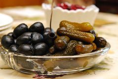 Pickles and Olives Stock Photo