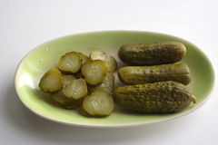 Pickles. In an oval dish Stock Photography