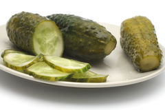 Pickles on a plate Stock Photos