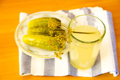 Pickles on a plate. Pickles and spices on a plate Stock Photography
