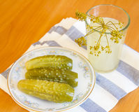 Pickles on a plate. Pickles and spices on a plate Stock Photo
