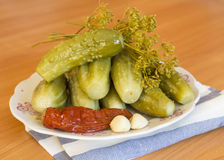 Pickles on a plate. Pickles and spices on a plate Royalty Free Stock Image