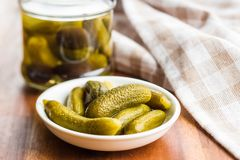 Pickles. Preserved cucumbers. Royalty Free Stock Images