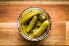 Pickles. Preserved cucumbers. Royalty Free Stock Photography