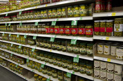 Pickles on shelves in supermarket Royalty Free Stock Images