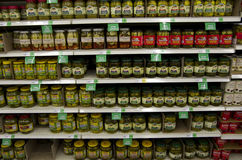Pickles on shelves in supermarket Royalty Free Stock Image