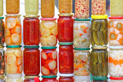 Pickles. Various Pickled Vegetables in Mason Jars royalty free stock photography