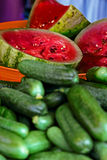 Pickles from watermelon and cucumbers, homemade Royalty Free Stock Photography