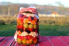 Traditional food in Romania: Ornate Pickles jar Royalty Free Stock Photo
