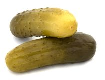 Pickles on white background Stock Photos