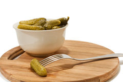 Pickles in white bowl Royalty Free Stock Images