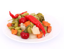 Pickles on white plate Stock Photography