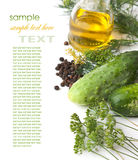 Pickling cucumbers and spices Royalty Free Stock Photos