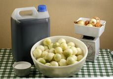 Pickling onions. Bowl of pickling onions and ingredients on a gingham cloth Royalty Free Stock Photography