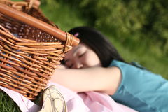 Picknick. Woman sleeping at picknick Royalty Free Stock Images