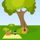 Picknick in aard, openluchtrecreatie onder een boom Stock Foto