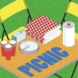 Picknick auf Gras ilustration Lizenzfreie Stockfotografie