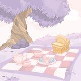 Picknick auf Wiese bei Sunny Day Stockfoto