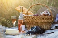 Picknick in de weide stock afbeeldingen
