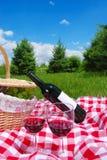 Picknick die met wijn plaatst Royalty-vrije Stock Fotografie
