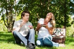Picknick draußen am Sommer Stockfotografie