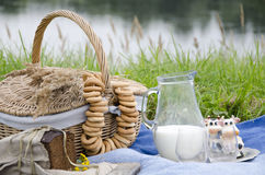 Picknick durch den Fluss Stockbild