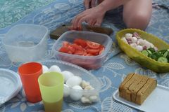 Picknick Een mens bereidt eenvoudige houten producten op een houten die raad voor, eieren op een deken, een brood en komkommers m stock fotografie