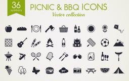 Picknick en barbecue vectorpictogrammen stock illustratie