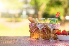 Picknick Fles wijn met glazen Aardbei romaans banner royalty-vrije stock foto's
