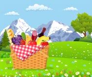 Picknick i bergen vektor illustrationer