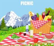 Picknick i bergen stock illustrationer