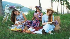 picknick i bygden Kvinnavänner som tycker om picknicken, läseböcker som skriver i anteckningsbok arkivfilmer