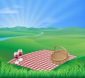 Picknick i härlig lantlig plats stock illustrationer