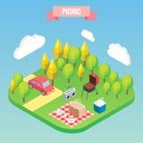 Picknick i isometriska objekt för en parkera Vektorillustration i plan stil 3d Utomhus- familjsemester Royaltyfri Fotografi