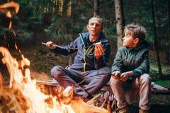 Picknick i skog - fader- och sonrostemarshmallow på lägereld royaltyfri bild