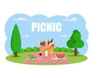 Picknick im Freien im Park lizenzfreie abbildung