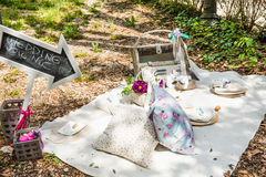 Picknick im Garten Stockfotos