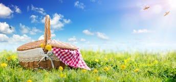 Picknick - Korb auf Wiese stockfoto