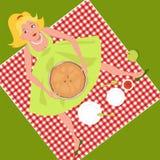 Picknick med en äppelpaj Fotografering för Bildbyråer