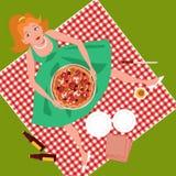 Picknick med pizza Royaltyfri Fotografi