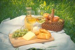 Picknick met fles en glazen witte wijn Royalty-vrije Stock Afbeelding