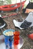 Picknick met hangmat Royalty-vrije Stock Afbeeldingen