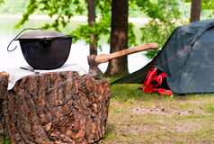 Picknick mit Zelt Lizenzfreies Stockfoto