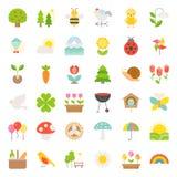 Picknick-, natur- och vårsymbolsuppsättning stock illustrationer